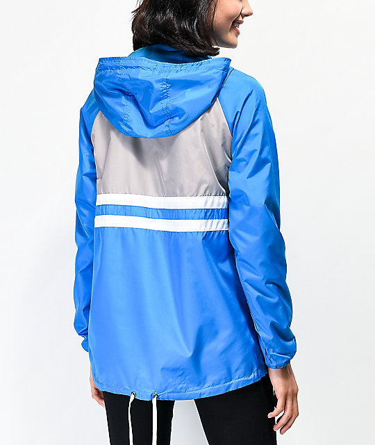 Zine Domino Blue Half Zip Windbreaker Jacket