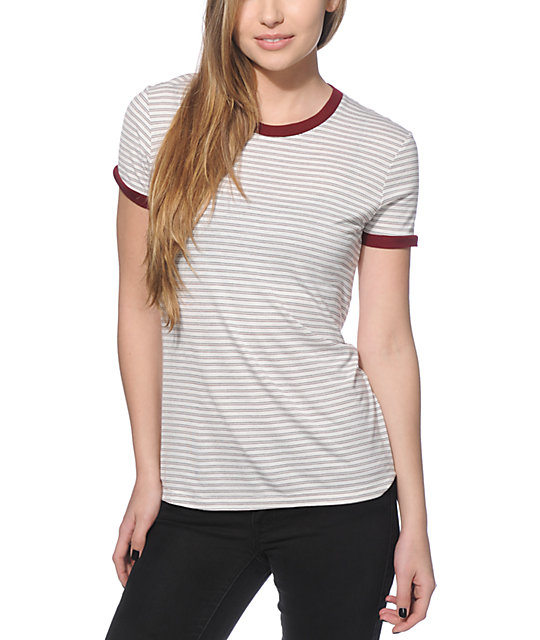Zine Doris White & Burgundy Stripe Ringer T-Shirt