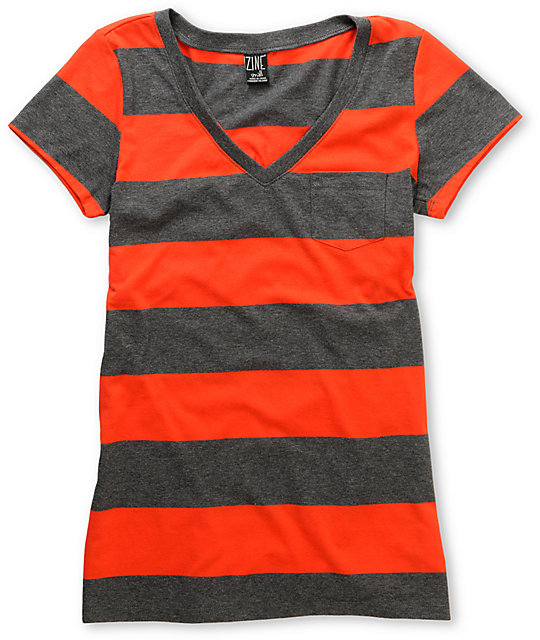 Zine Fire Red & Charcoal Rugby Stripe V-Neck T-Shirt