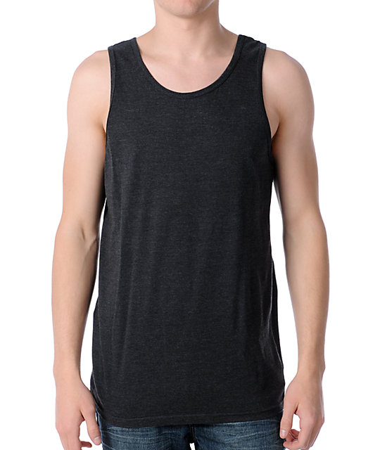 Zine Fixed Heather Black Tank Top