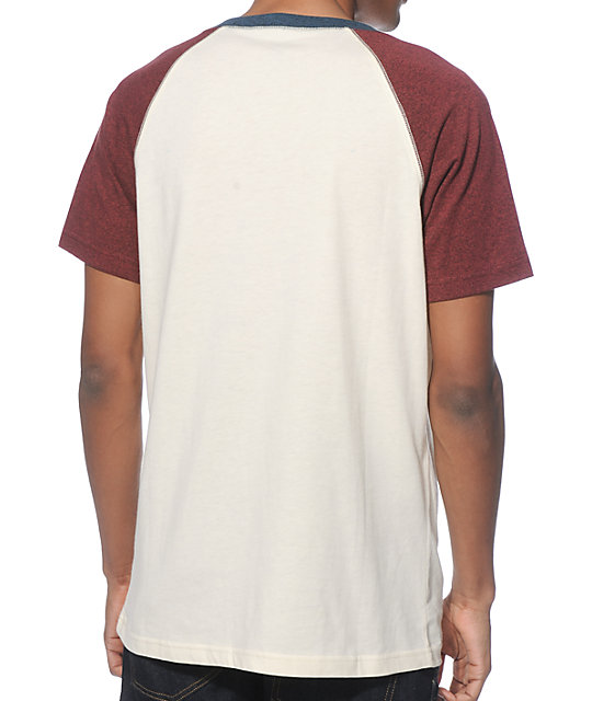 Zine Freedom Natural, Burgundy, and Teal Henley Pocket T-Shirt