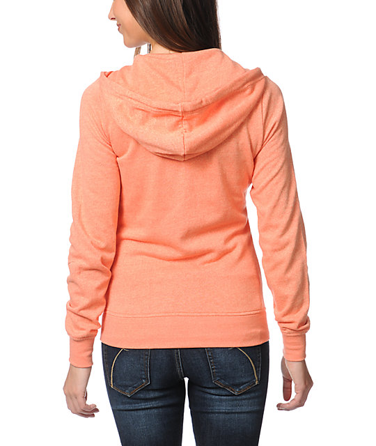 Zine Fresh Salmon Peach Zip Up Hoodie