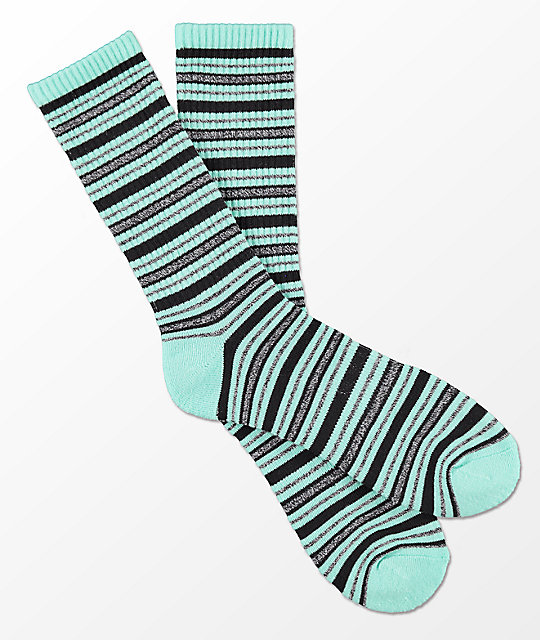 Zine Gabe Mint, Charcoal & Black Stripe Crew Socks