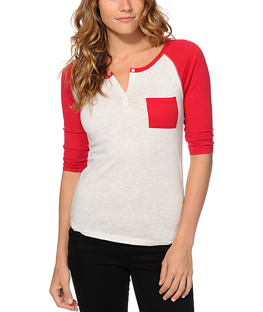 Zine Gamma White & Red Henley Shirt