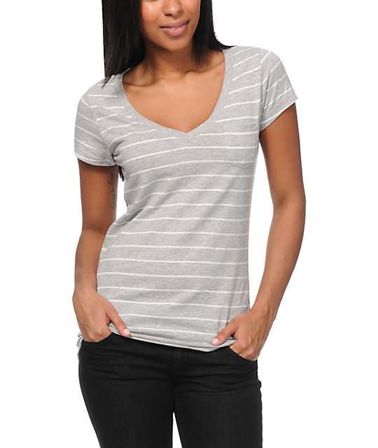 Zine Grey Striped V-Neck Pocket T-Shirt