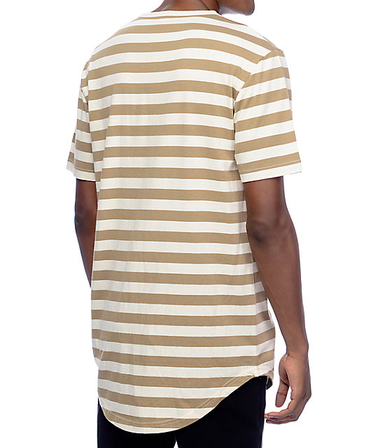 Zine Halfsies Khaki & Off-White Striped T-Shirt