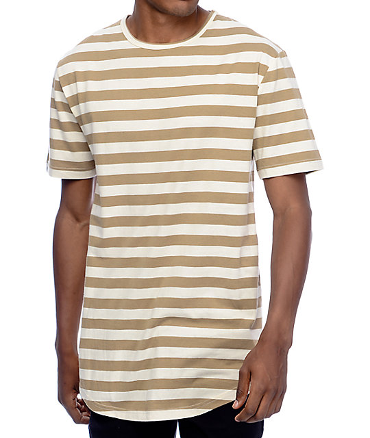 9dac87cfb314b5 Zine Halfsies Khaki   Off-White Striped T-Shirt