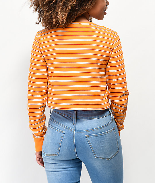 Zine Hannah Orange Striped Crop Long Sleeve T-Shirt