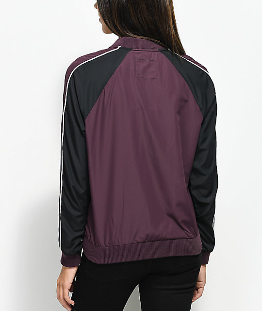 Zine Harlow Burgundy & Charcoal Colorblock Jacket