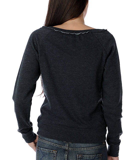 Zine Heather Black Wide Neck Sweatshirt