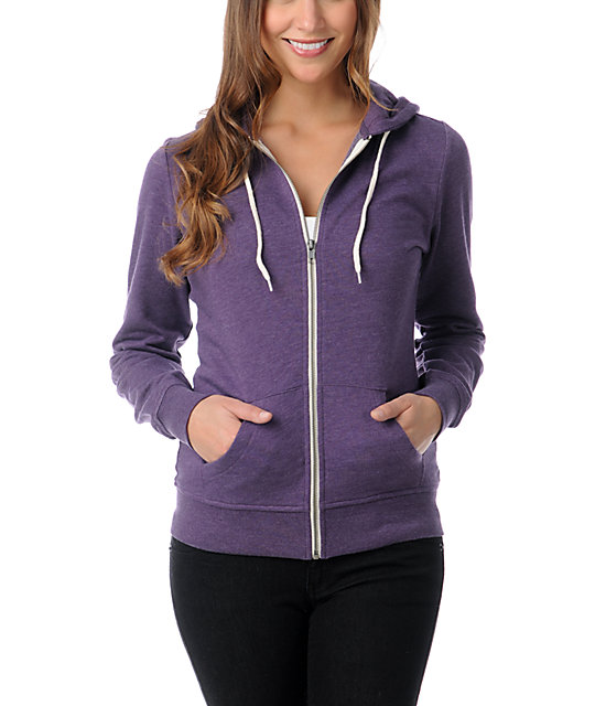 Zine Heather Purple Zip Up Hoodie