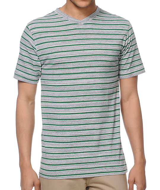 Zine Hunter Grey Stripe V-Neck T-Shirt