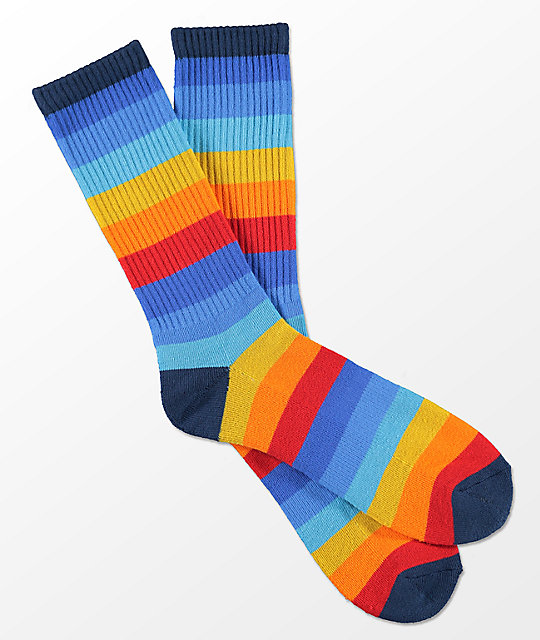 Zine Icon Risk Red Curry Stripe Crew Socks