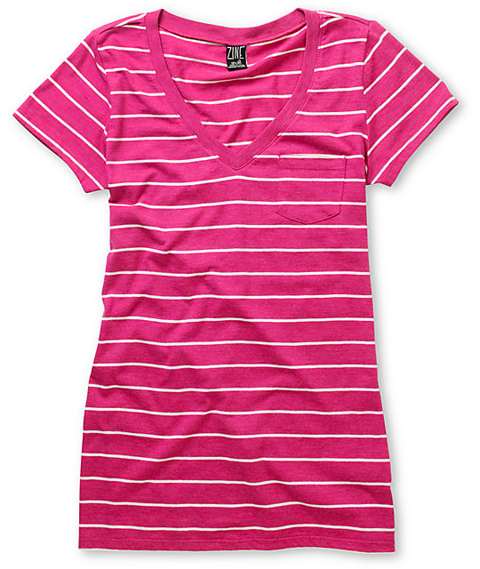 c4cc6f89 Zine Iris Pink & White Striped V-Neck T-Shirt | Zumiez