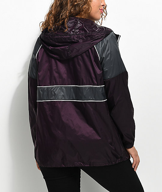 Zine Justine Blackberry & Charcoal Oversized Windbreaker Jacket