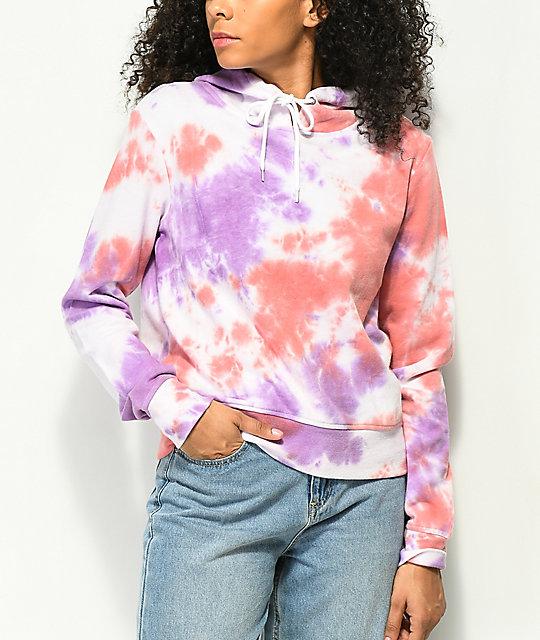 d6b428aab20558 Zine Kahleah Purple   Peach Tie Dye Crop Hoodie