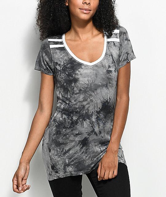 4f2586487a1f Zine Kalene Grey   Black Tie Dye Ringer T-Shirt
