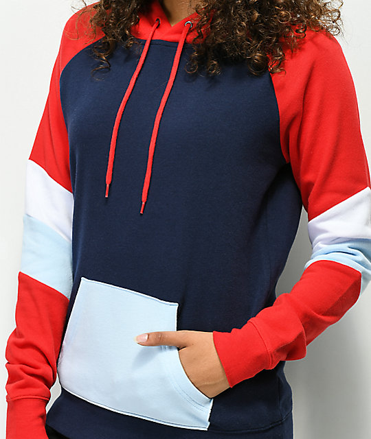 Zine Kate Navy, Red & White Colorblock Hoodie