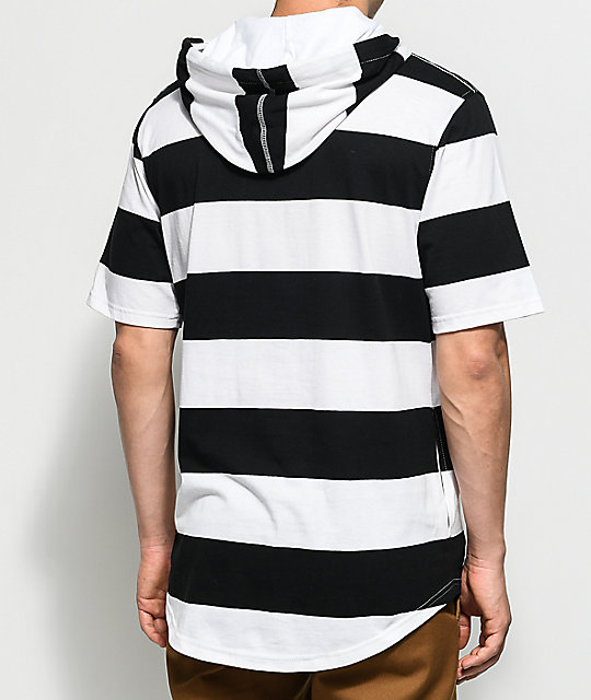 Zine Locked Up Hooded Black & White T-Shirt