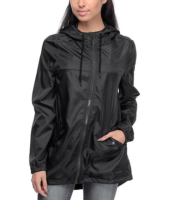 8066aa423e5 Zine Mae Black Long Windbreaker Jacket … URSMARTHigh-end brand new autumn  and winter female long black coat weatherproof women windbreaker jacket