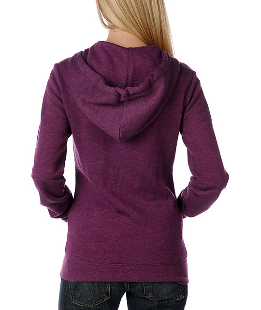 Zine Magenta Purple Mock Neck Up Zip Up Hoodie