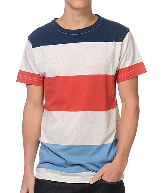 Zine Mccool Red & Navy Stripe Knit T-Shirt