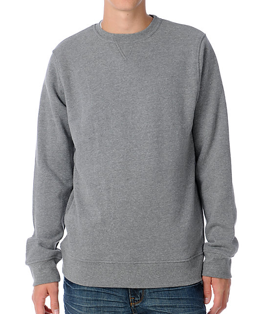 Zine Mens Cruiser Heather Grey Crew Sweatshirt
