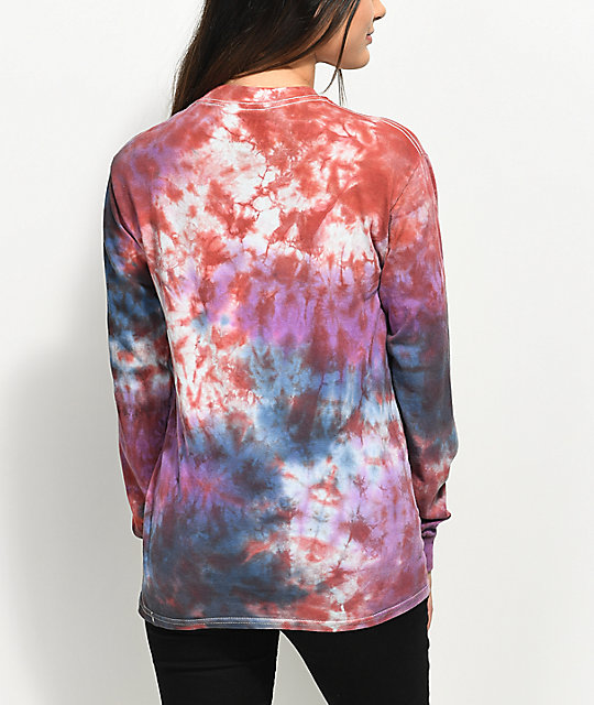 Zine Monroe Blue, Purple & Red Tie Dye Long Sleeve T-Shirt