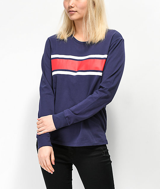 Zine Monroe Colorblock Stripe Blue Long Sleeve T-Shirt