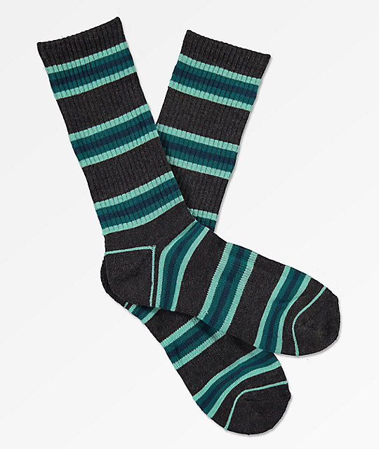 Zine Motion Heather Black & Legion Blue Crew Socks