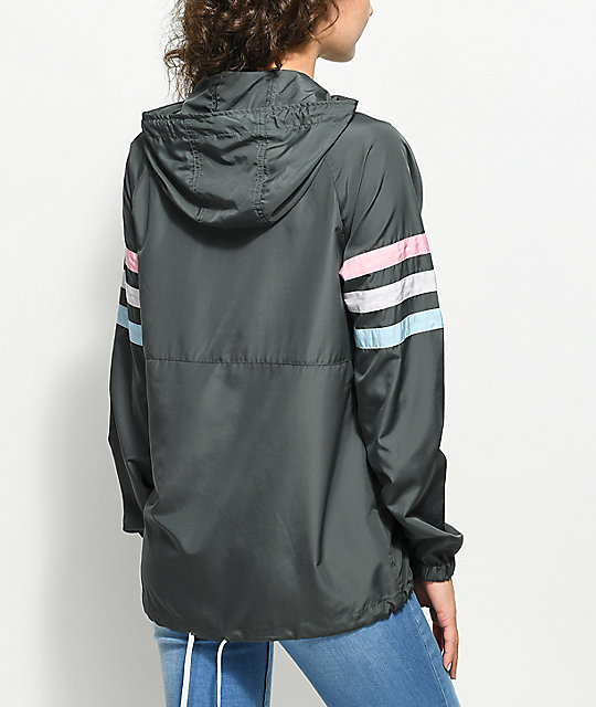 Zine Nasha Charcoal Pullover Windbreaker Jacket