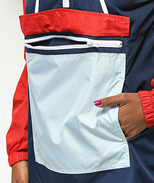 Zine Nella Lace Up Side Red & Blue Anorak Jacket
