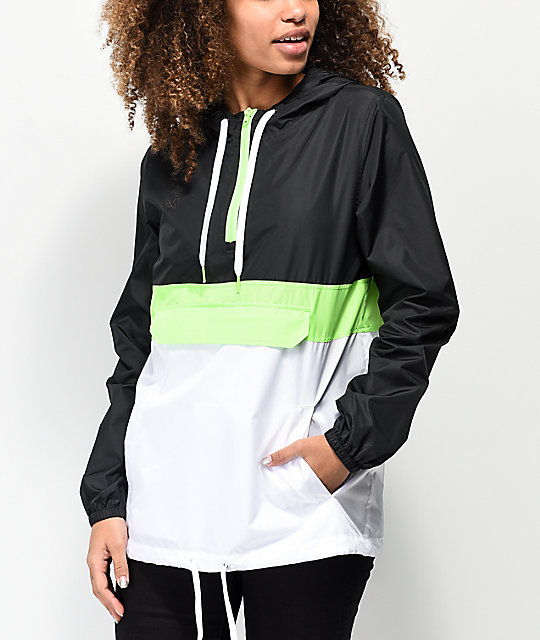 Zine Neve Safety Green, Black & White Anorak Jacket