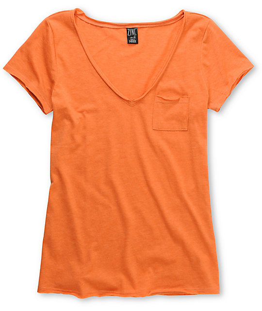 Zine Orange Raw Edge V-Neck T-Shirt