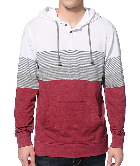 Zine Patriots Burgundy Stripe Long Sleeve Hooded Henley Shirt