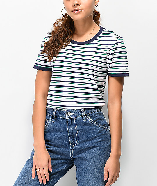 Zine Phinney Green & Blue Stripe Ringer T-Shirt