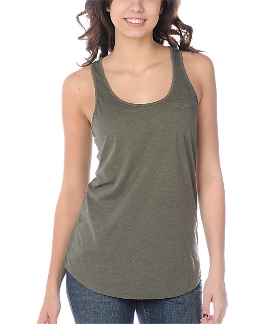Zine Pocket Ivy Green Tank Top