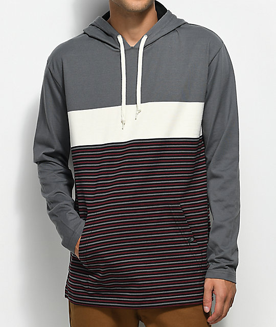 Zine Rafi Grey & Cream Striped Hooded T-Shirt