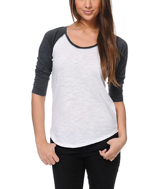 4cb2a21cd0b Zine Raglan Charcoal   White Baseball Tee