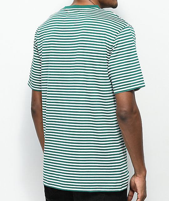 Zine Ranked Green & White Striped T-Shirt