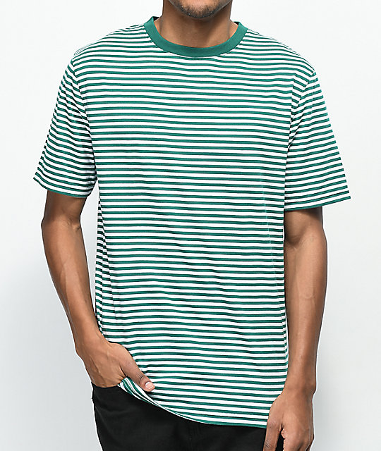 77c2bc84fac51 Zine Ranked Green   White Striped T-Shirt
