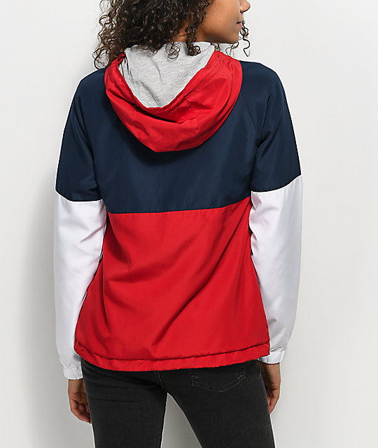 Zine Reajan Red, White & Blue Lined Windbreaker Jacket