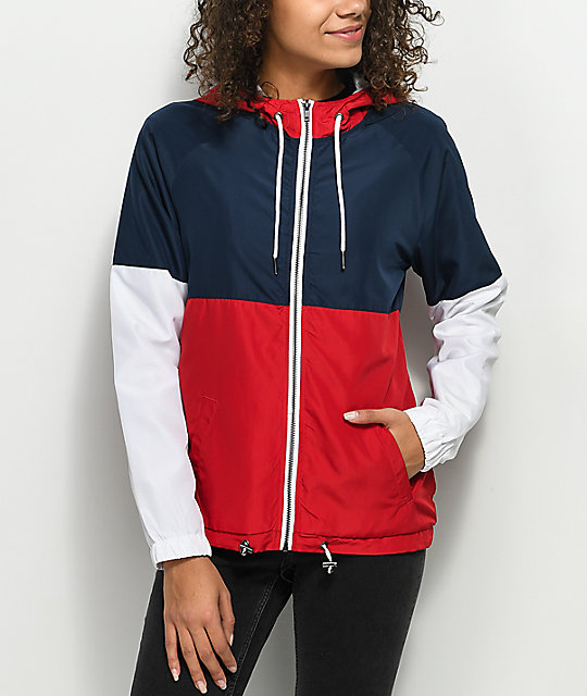 Red Colour Block Wind Breaker - XS / RED I Saw It First