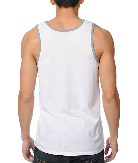 Zine Ringer Solid White Tank Top