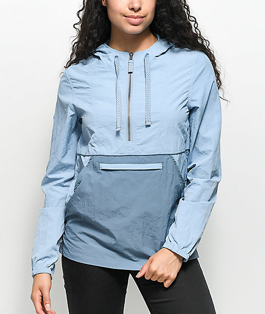 Zine Sabra Light Blue Jacquard Pullover Windbreaker Jacket