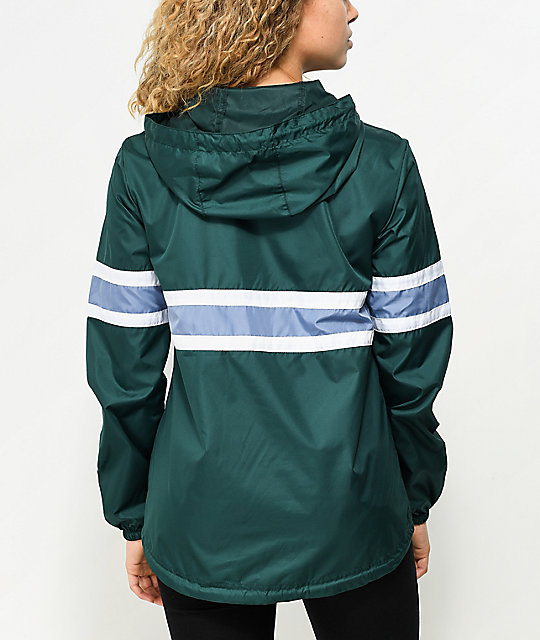 Zine Shiloh Dark Green Pullover Windbreaker Jacket