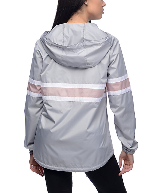 Zine Shiloh Light Grey & Mauve Packable Windbreaker