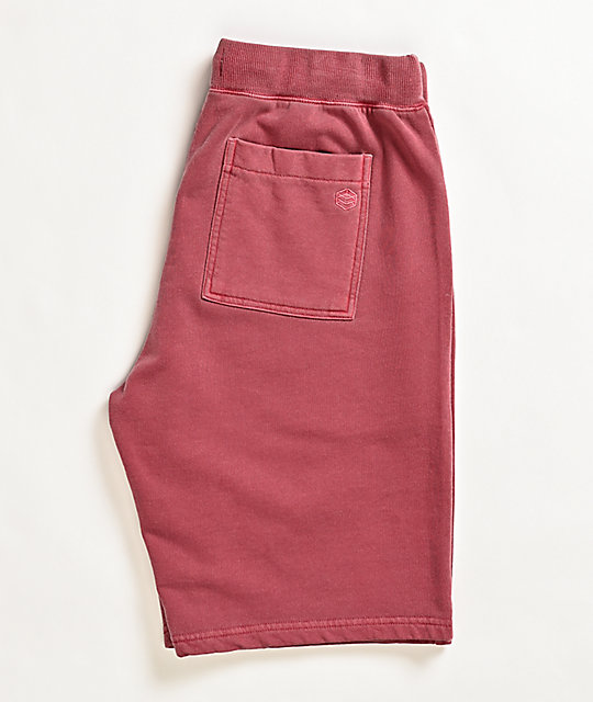 Zine Silas Washed Red Elastic Waist Sweat Shorts
