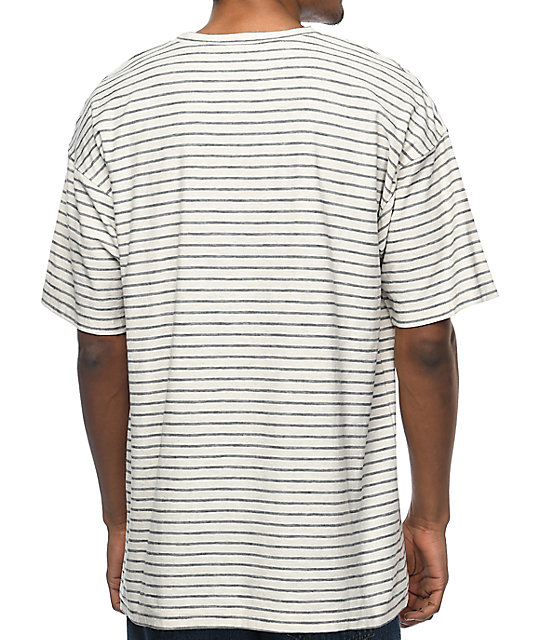 Zine Slouch Natural & Black Striped T-Shirt