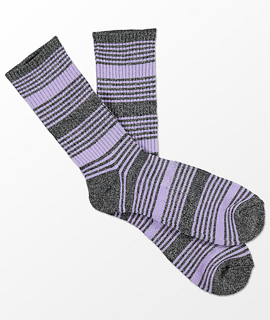 Zine Snub Light Heather Grey & Lavender Crew Socks